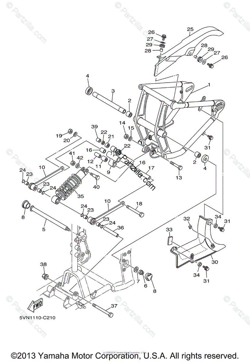 Yamaha Motorcycle 2004 OEM Parts Diagram for Rear Arm