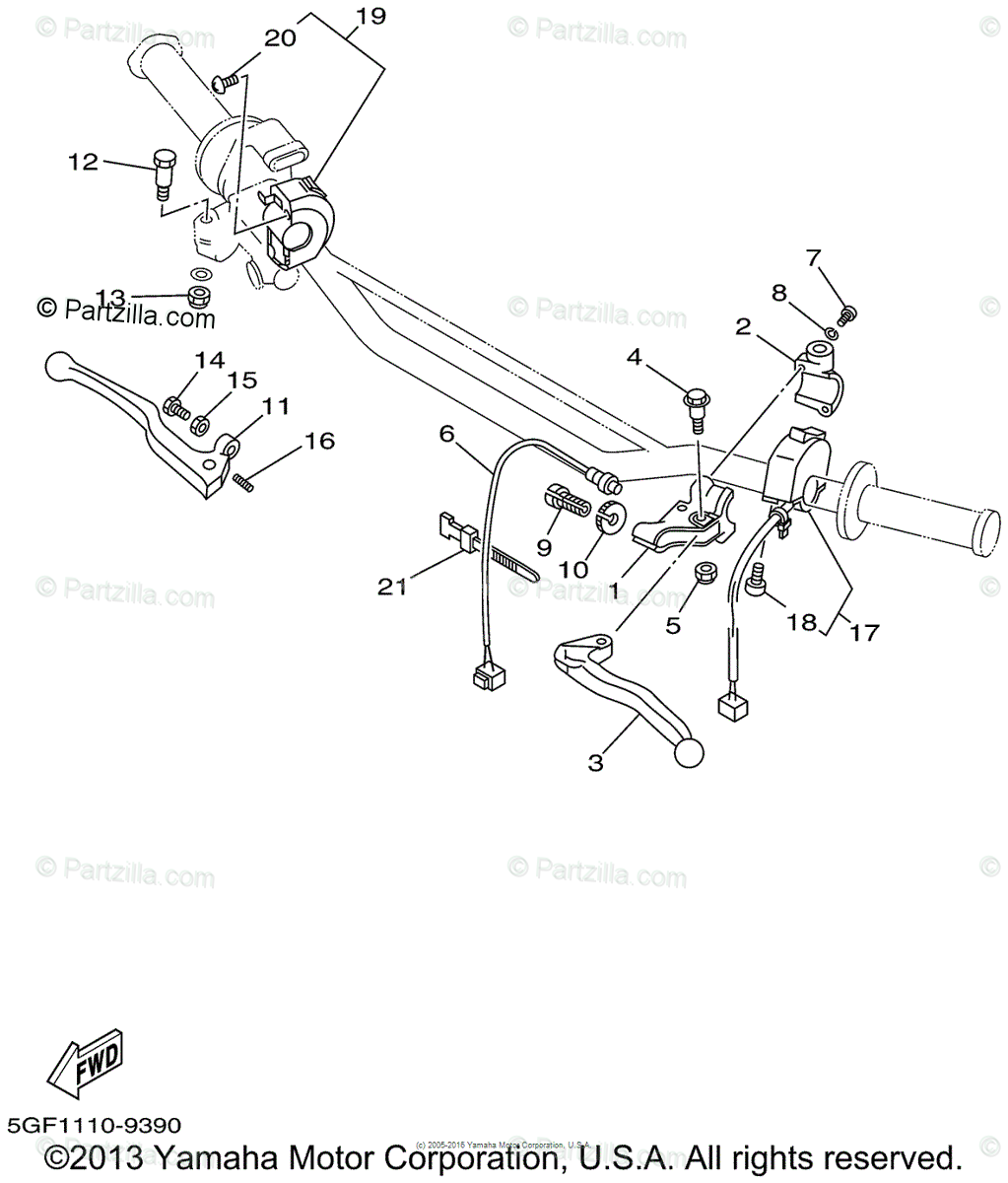 Yamaha Motorcycle 1999 OEM Parts Diagram for Handle Switch