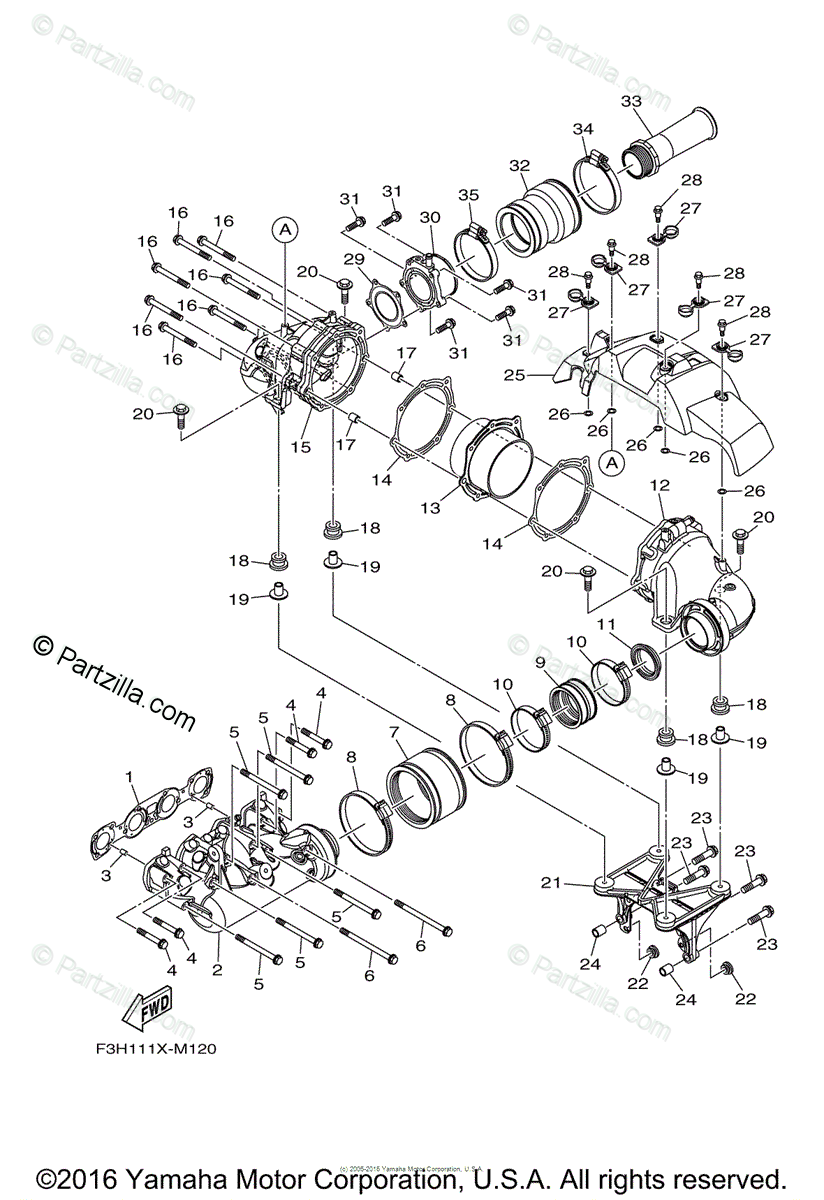 Yamaha Boat 2016 OEM Parts Diagram for Exhaust 1