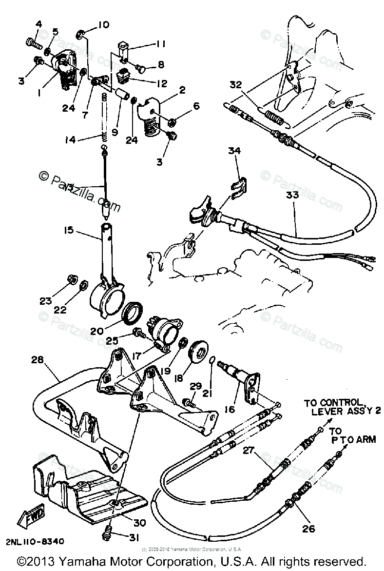 Yamaha ATV 1988 OEM Parts Diagram for PTO Lever