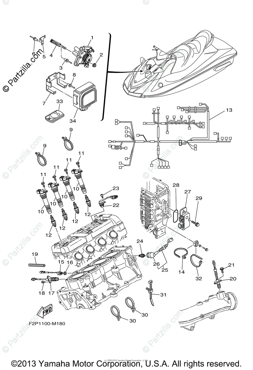 Yamaha Waverunner 2013 OEM Parts Diagram for Electrical