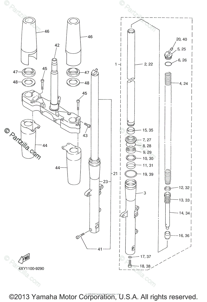 Yamaha Motorcycle 2007 OEM Parts Diagram for Front Fork