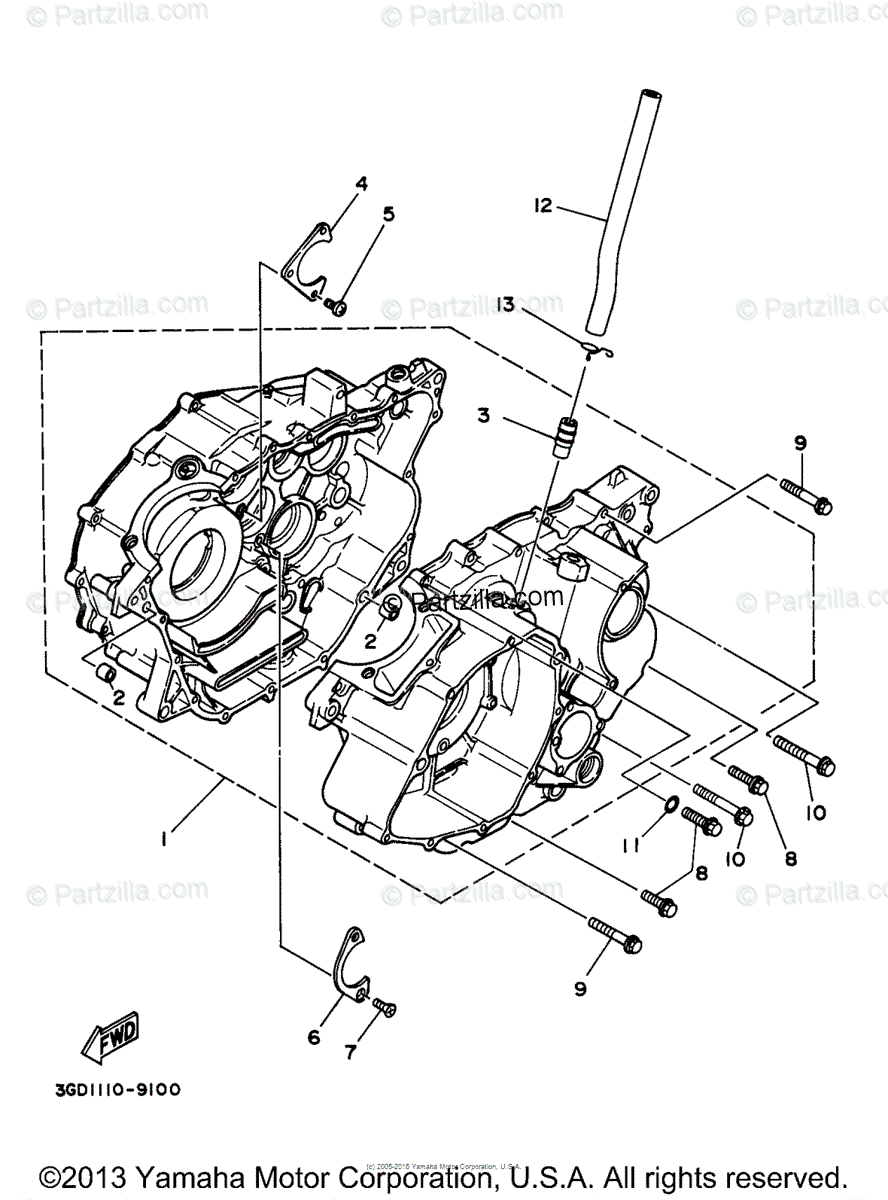 Yamaha ATV 1997 OEM Parts Diagram for Crankcase
