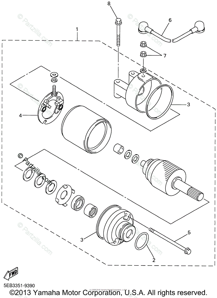Yamaha Motorcycle 2001 OEM Parts Diagram for STARTING