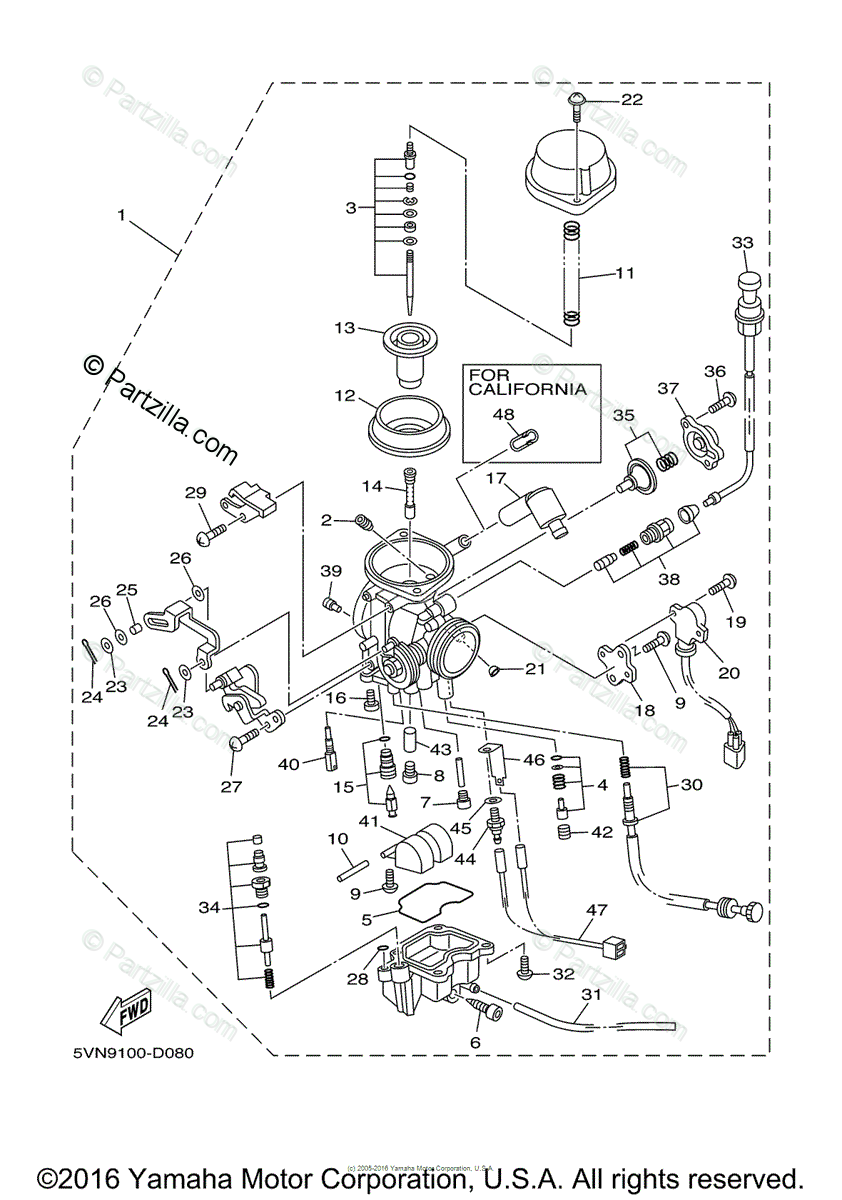 Yamaha Motorcycle 2006 OEM Parts Diagram for Carburetor