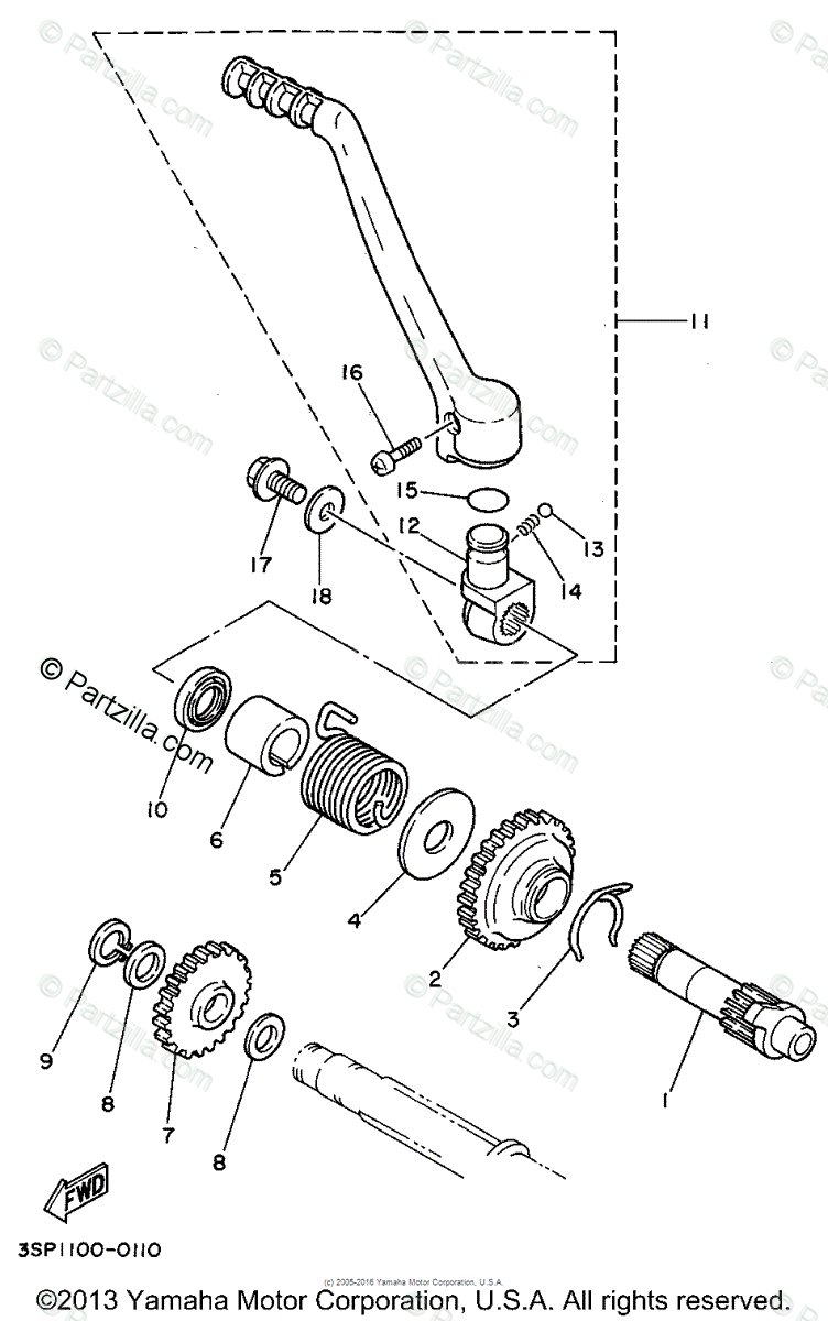 Yamaha Motorcycle 1994 OEM Parts Diagram for Starter