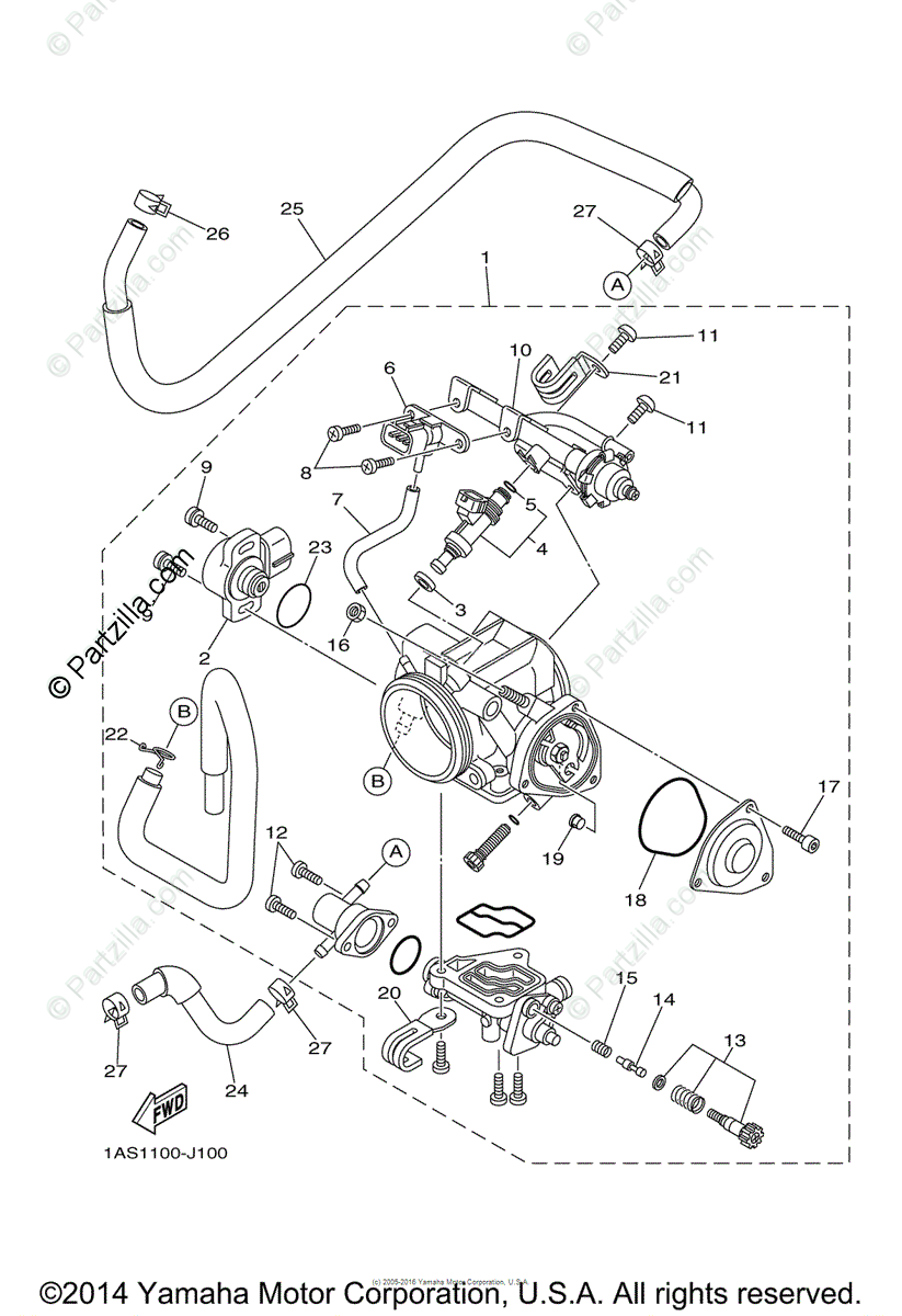 Yamaha ATV 2014 OEM Parts Diagram for Throttle Body Assy