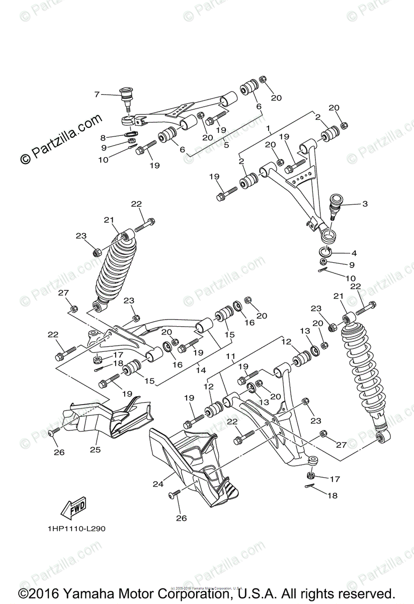 Yamaha ATV 2012 OEM Parts Diagram for Front Suspension