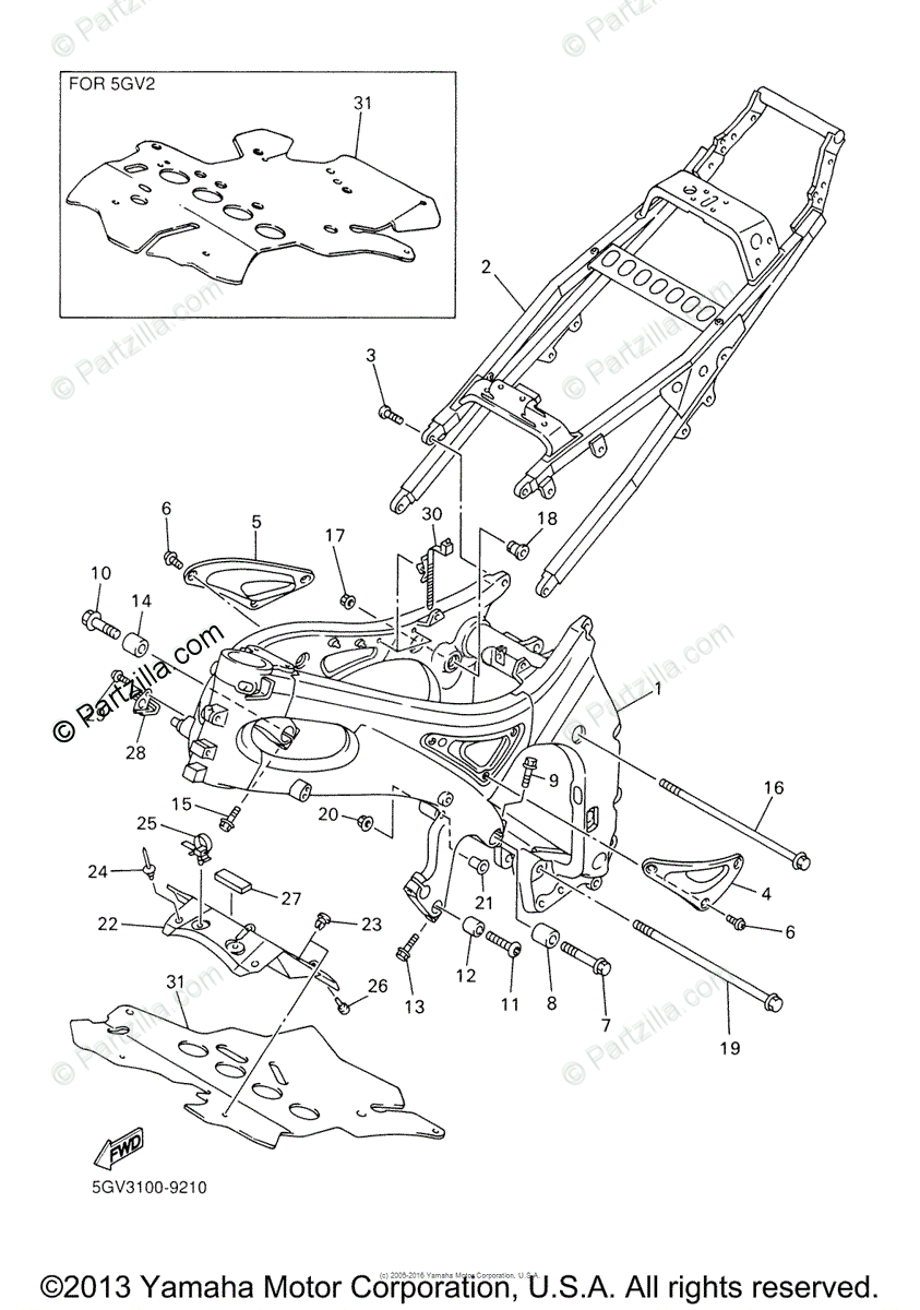 Yamaha Motorcycle 1999 OEM Parts Diagram for Frame