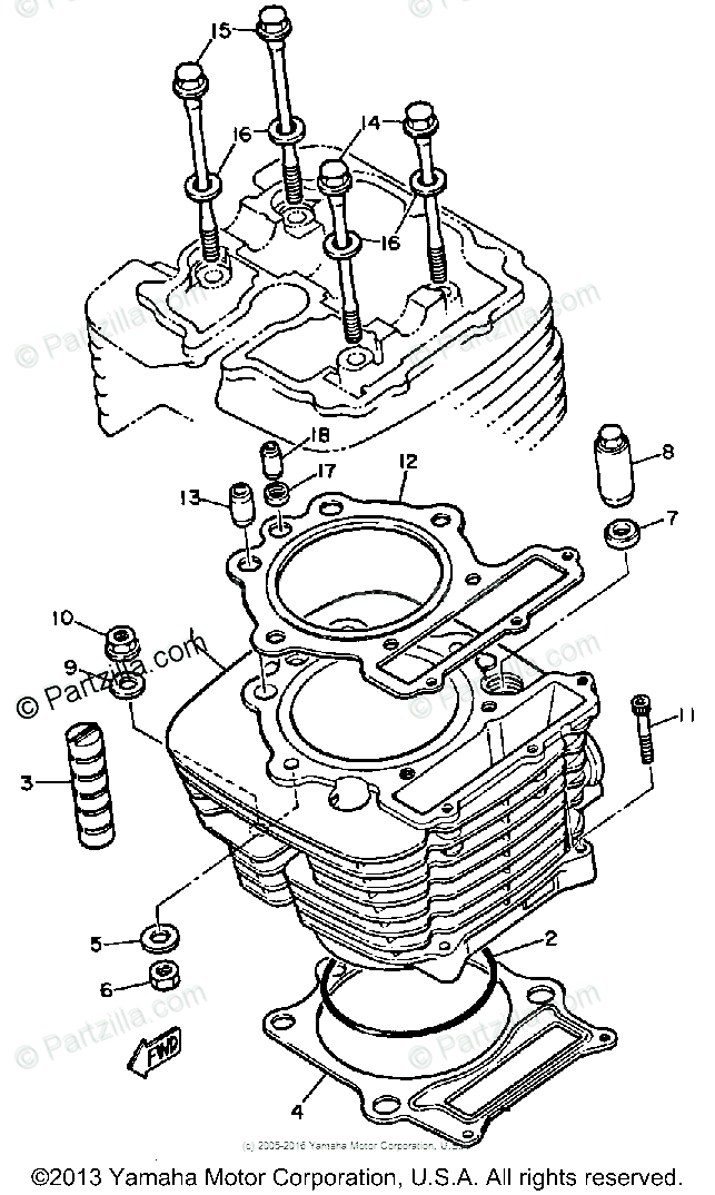 Yamaha Motorcycle 1984 OEM Parts Diagram for Cylinder