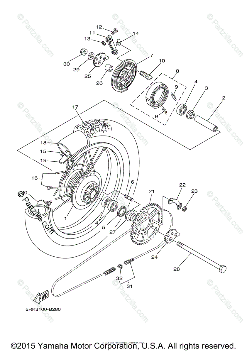 Yamaha Motorcycle 2007 OEM Parts Diagram for Rear Wheel