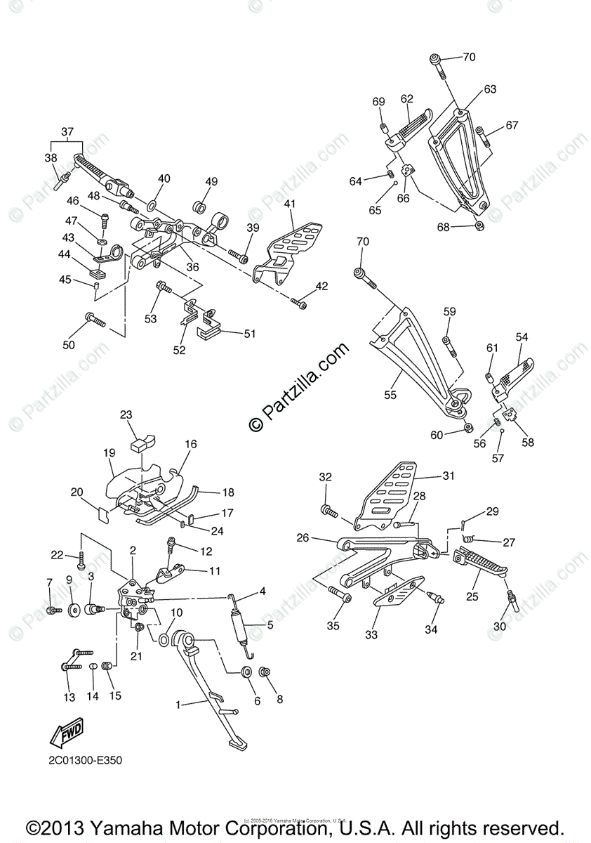 Yamaha Motorcycle 2006 OEM Parts Diagram for Stand