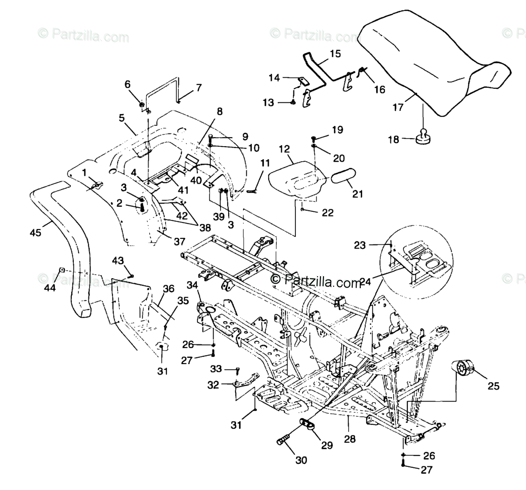 Polaris ATV 1999 OEM Parts Diagram for Rear Cab & Seat