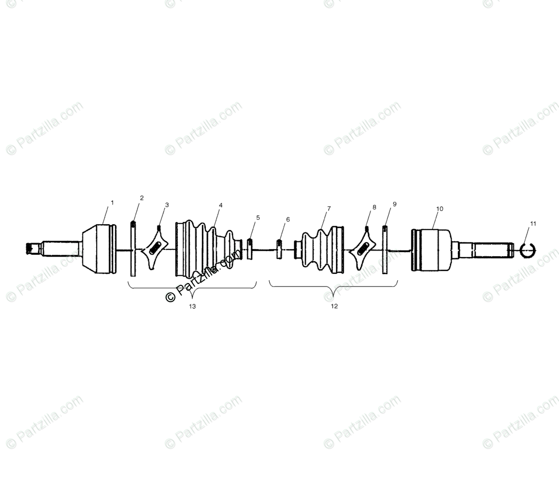 Polaris ATV 2003 OEM Parts Diagram for Drive Shaft