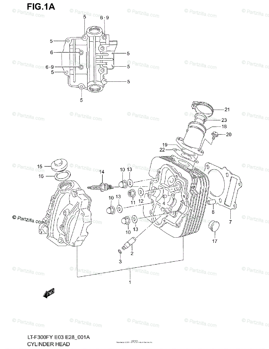 Suzuki ATV 1999 OEM Parts Diagram for Cylinder Head