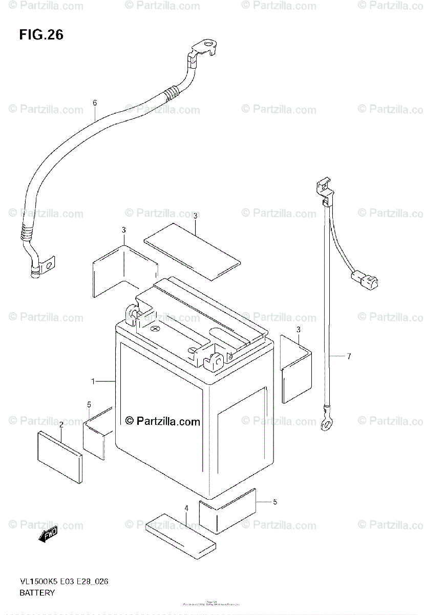 Suzuki Motorcycle 2005 OEM Parts Diagram for Battery