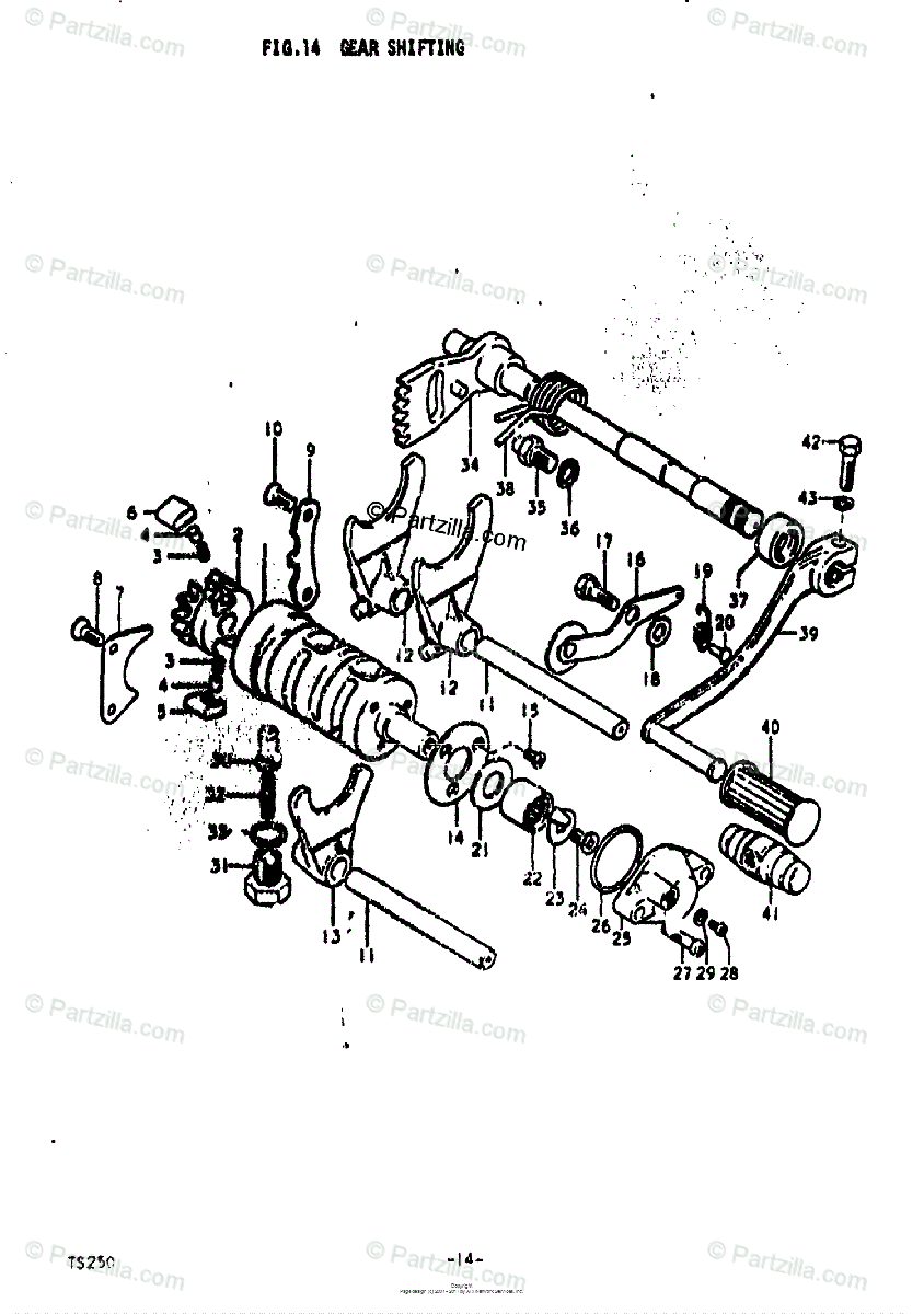 Suzuki Motorcycle 1973 OEM Parts Diagram for Gear Shifting