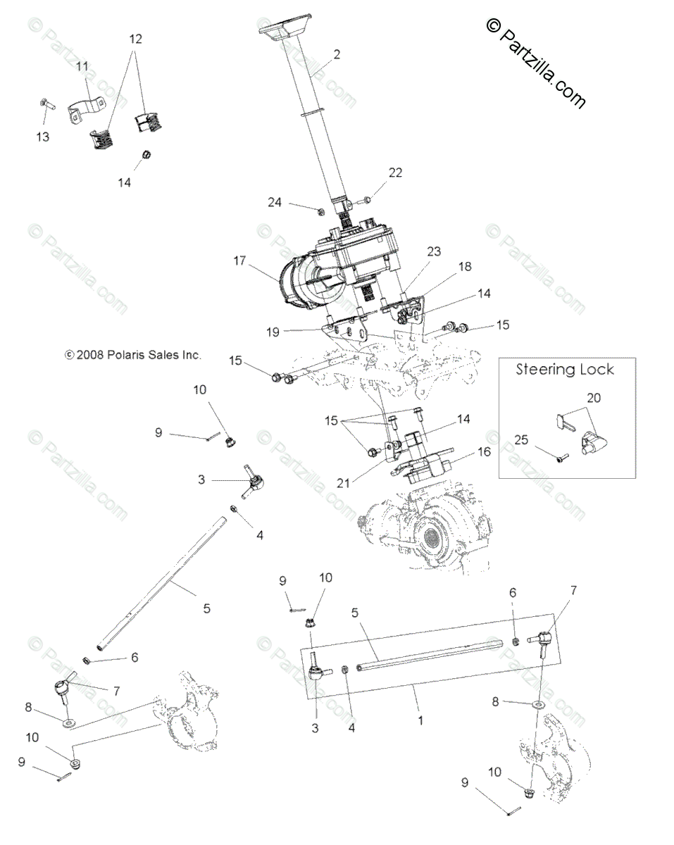 Polaris ATV 2009 OEM Parts Diagram for Steering, Steering