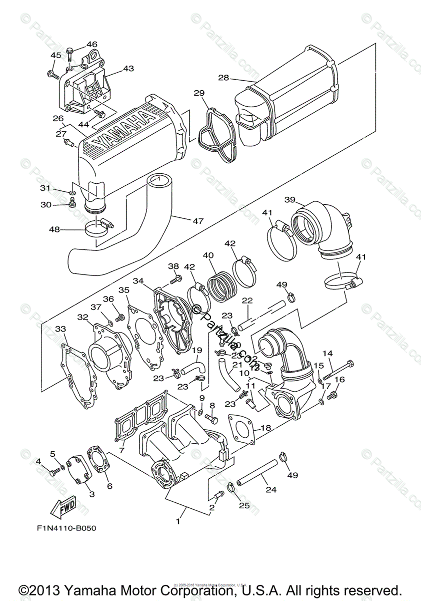 Yamaha Waverunner 2004 OEM Parts Diagram for Exhaust (1