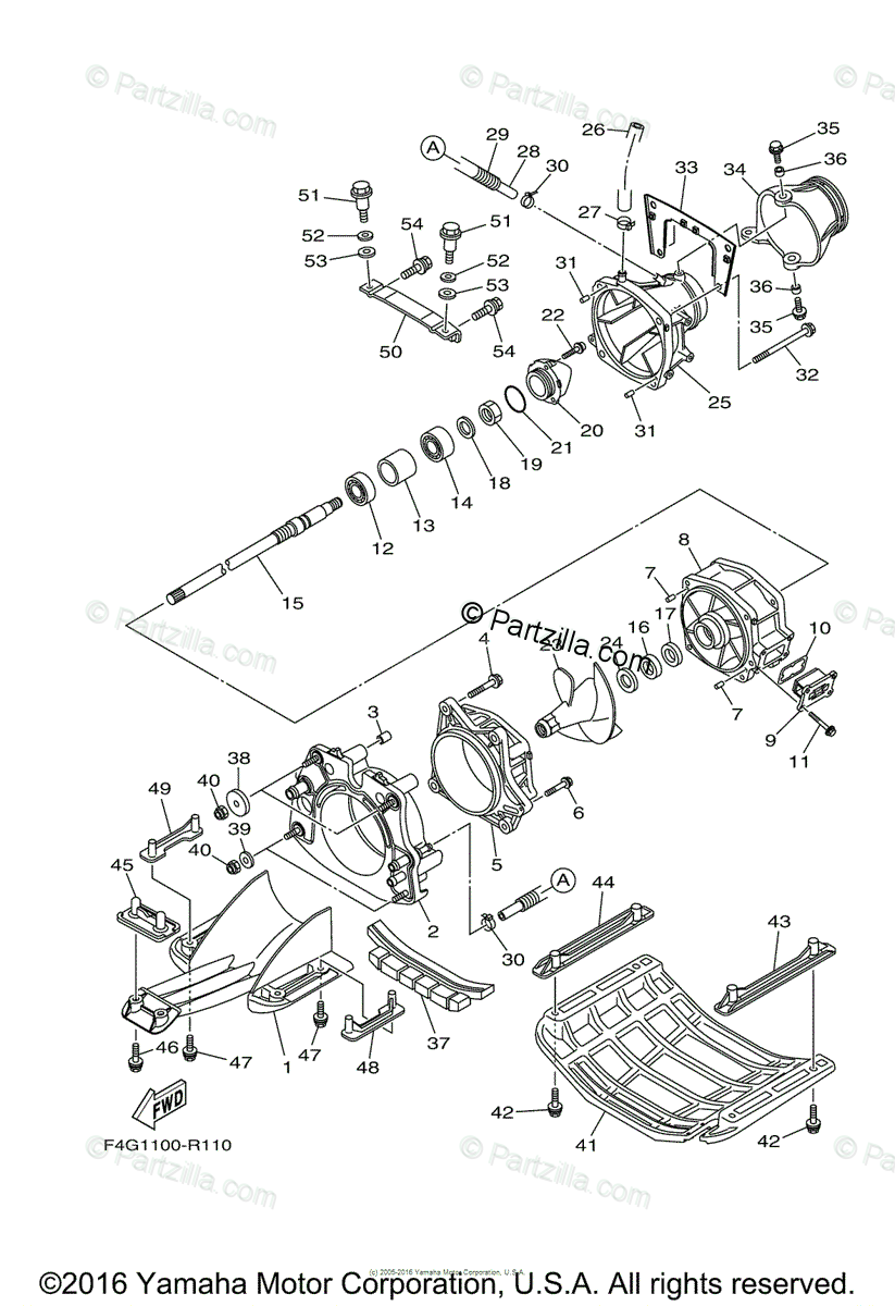 Yamaha Waverunner 2016 OEM Parts Diagram for Jet Unit 1