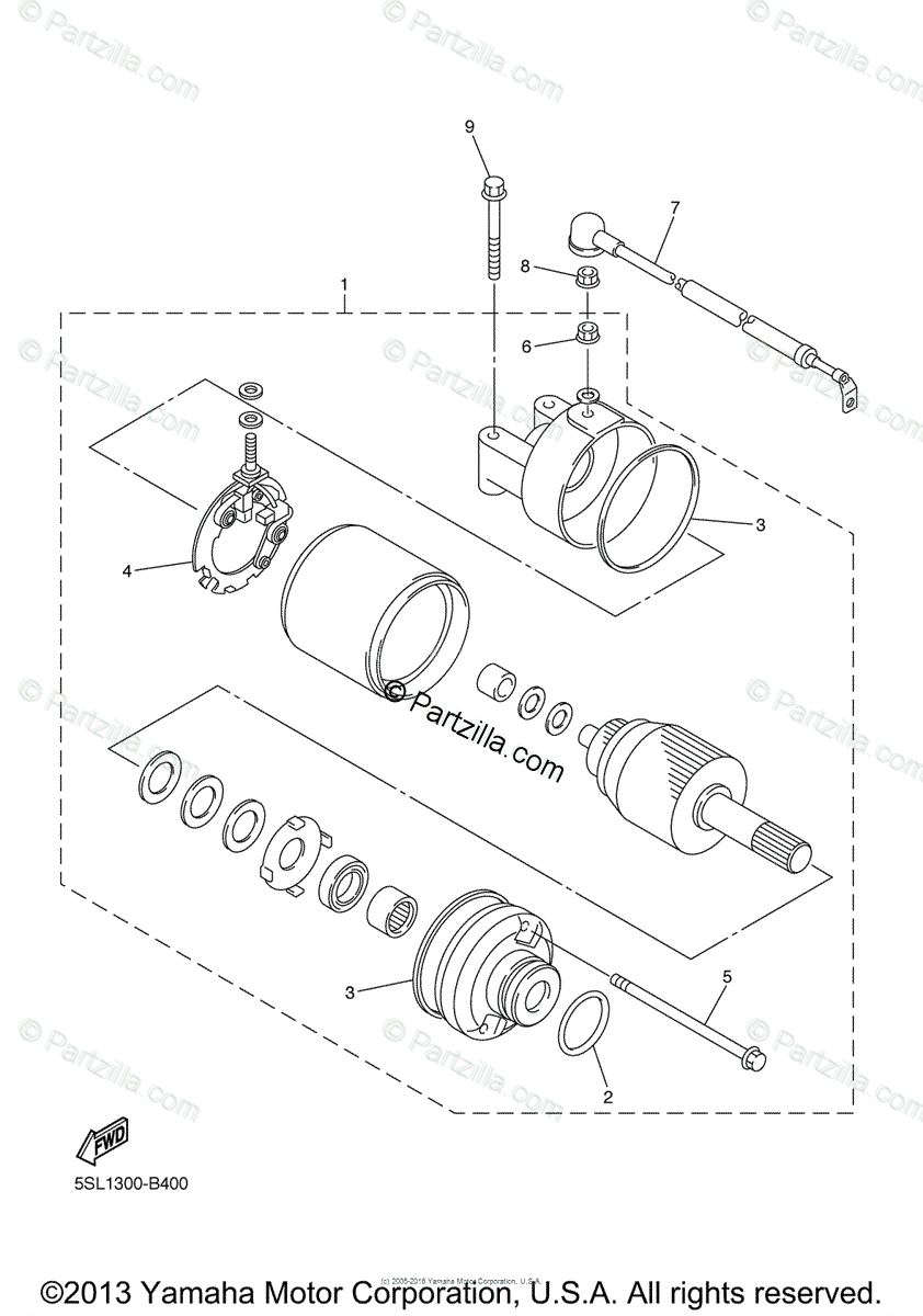 Yamaha Motorcycle 2005 OEM Parts Diagram for Starting