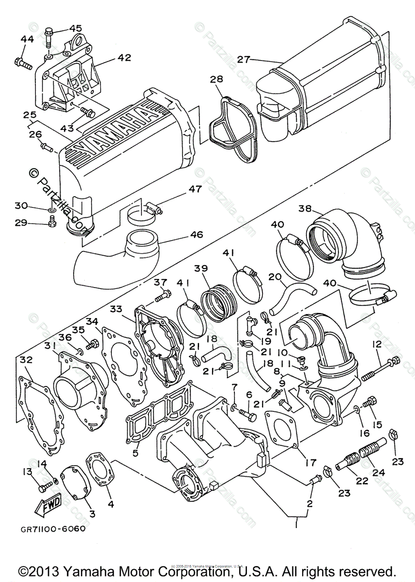 Yamaha Waverunner 1996 OEM Parts Diagram for Exhaust (1
