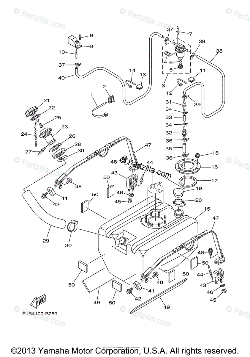 Yamaha Waverunner 2005 OEM Parts Diagram for Fuel Tank