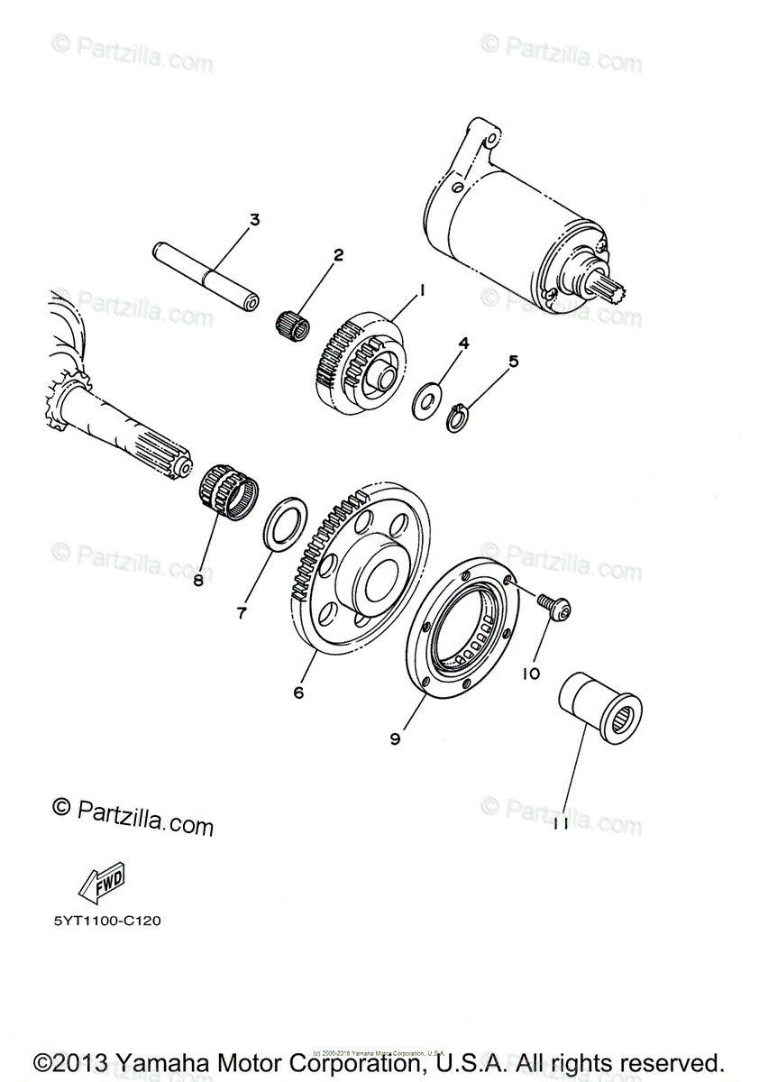 Yamaha ATV 2006 OEM Parts Diagram for Starter Clutch