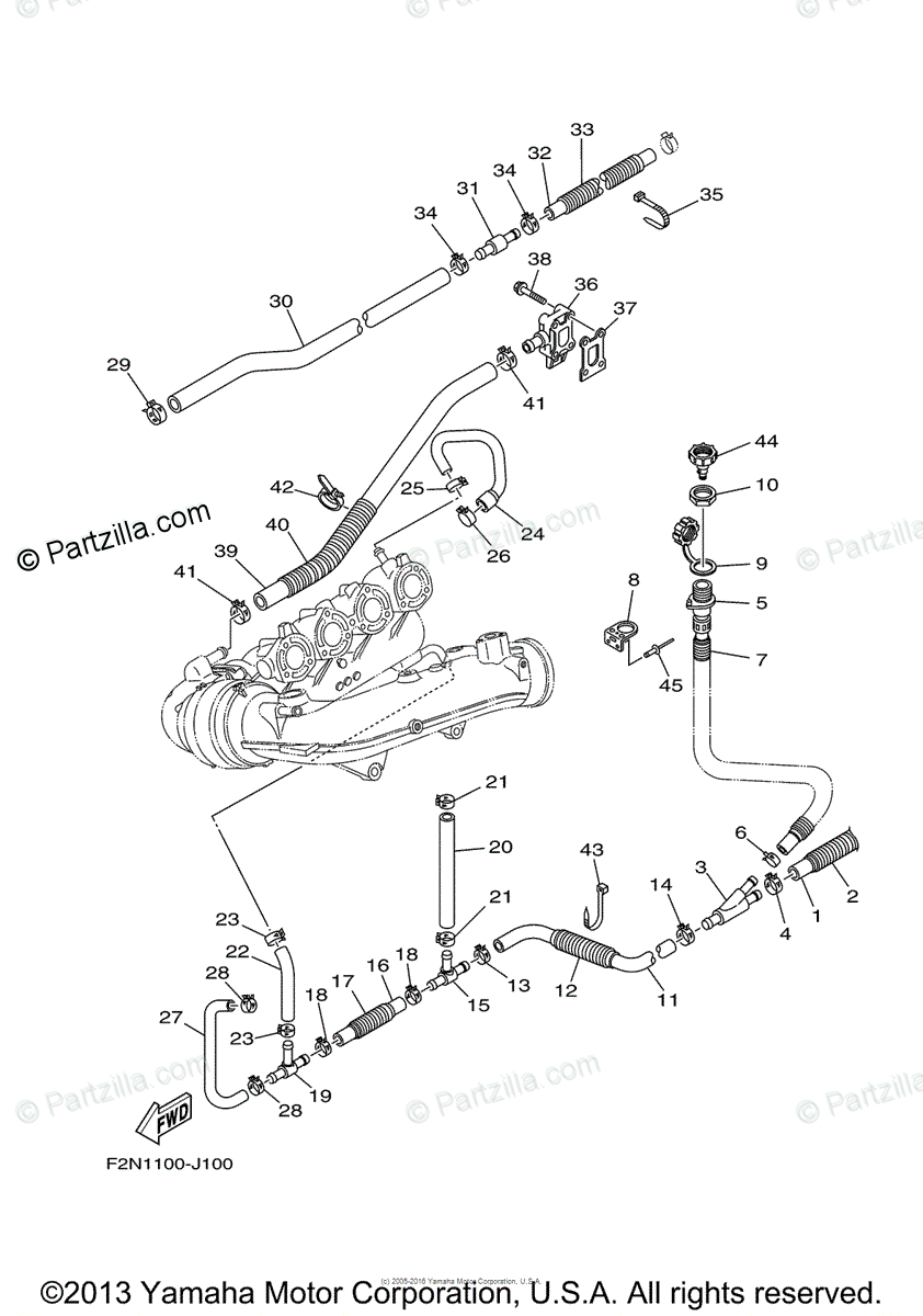 Yamaha Waverunner 2010 OEM Parts Diagram for Exhaust (2