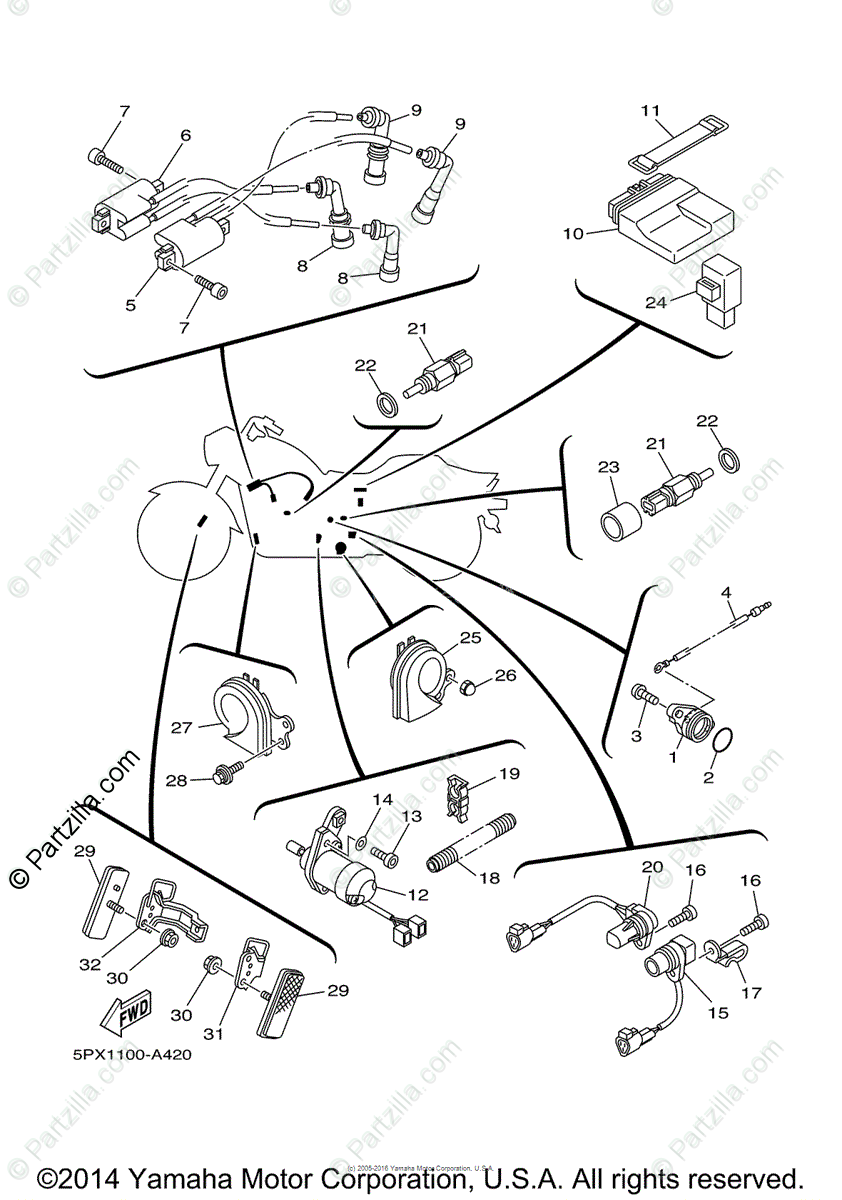 hight resolution of yamaha motorcycle 2003 oem parts diagram for electrical 1 partzilla com