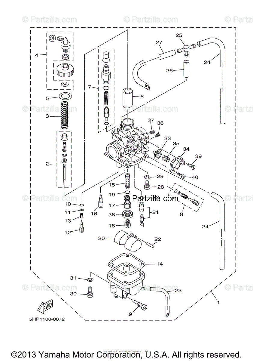Yamaha Motorcycle 2003 OEM Parts Diagram for Carburetor