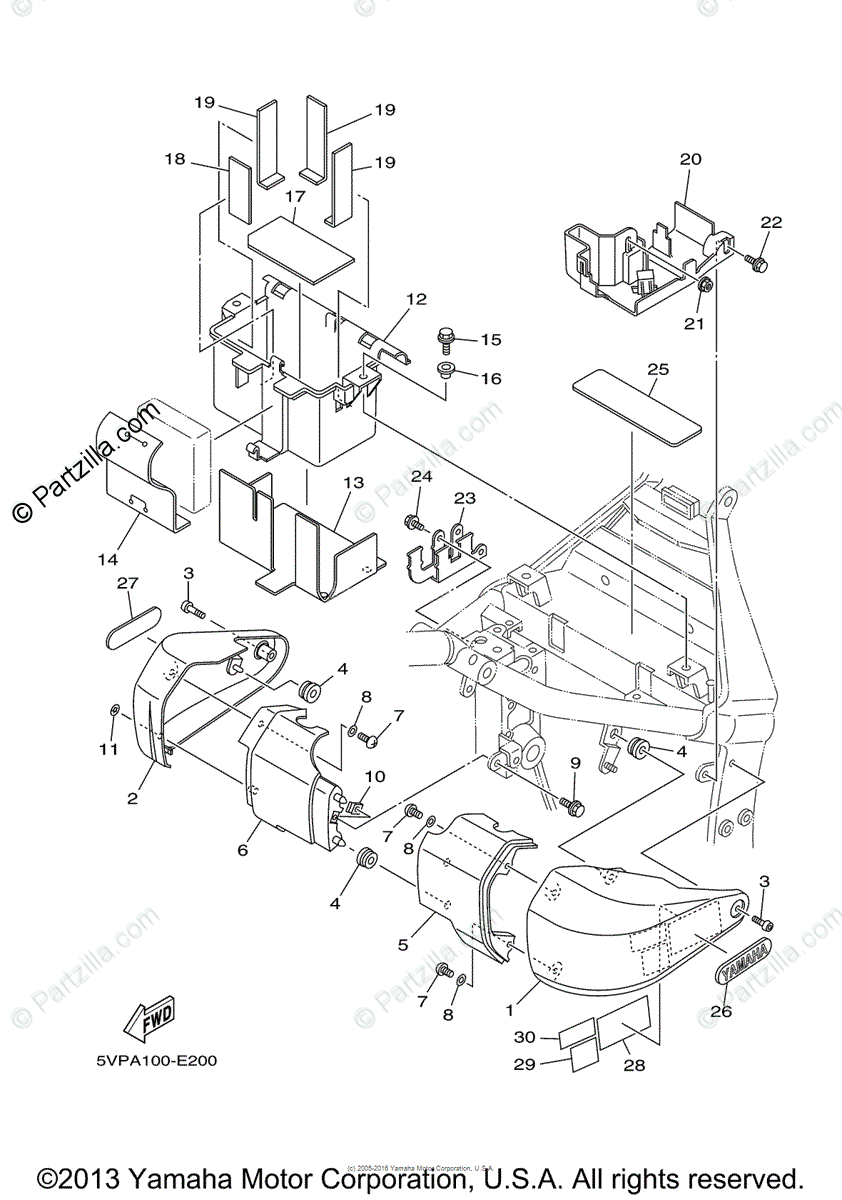 Yamaha Motorcycle 2006 OEM Parts Diagram for Side Cover