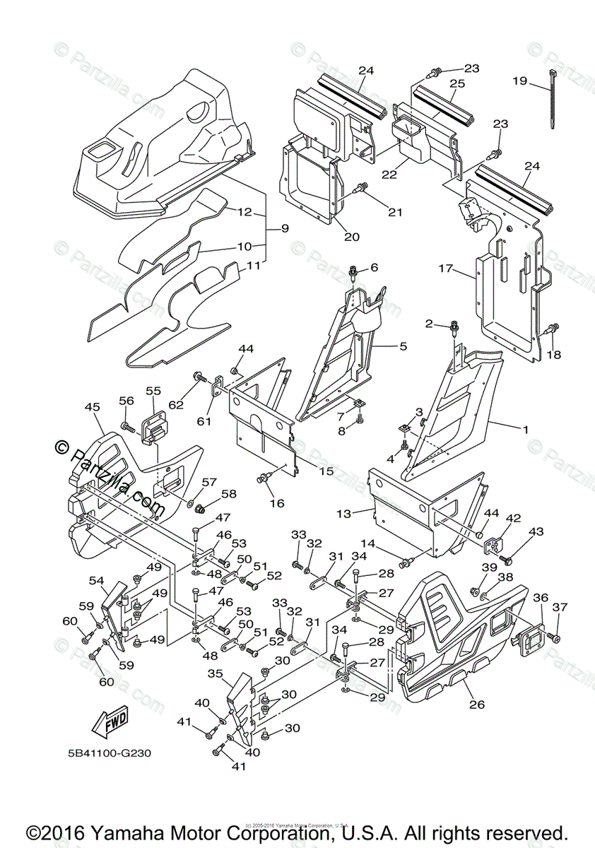Yamaha Side by Side 2009 OEM Parts Diagram for Side Cover