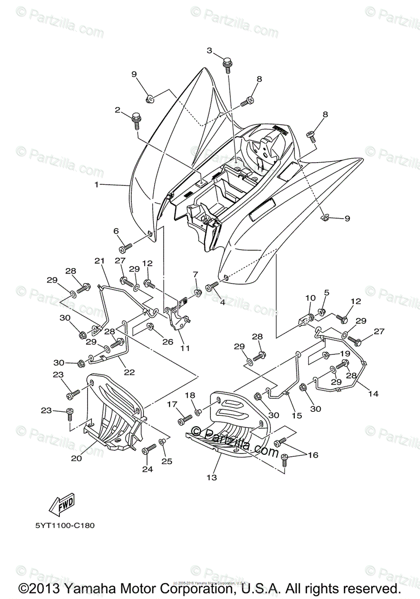 Yamaha ATV 2006 OEM Parts Diagram for Rear Fender