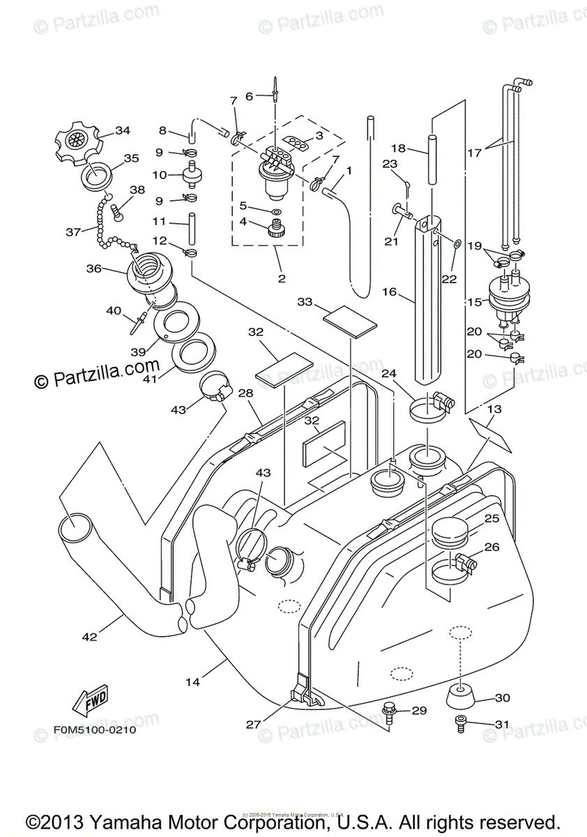 Yamaha Waverunner 2001 OEM Parts Diagram for Fuel Tank