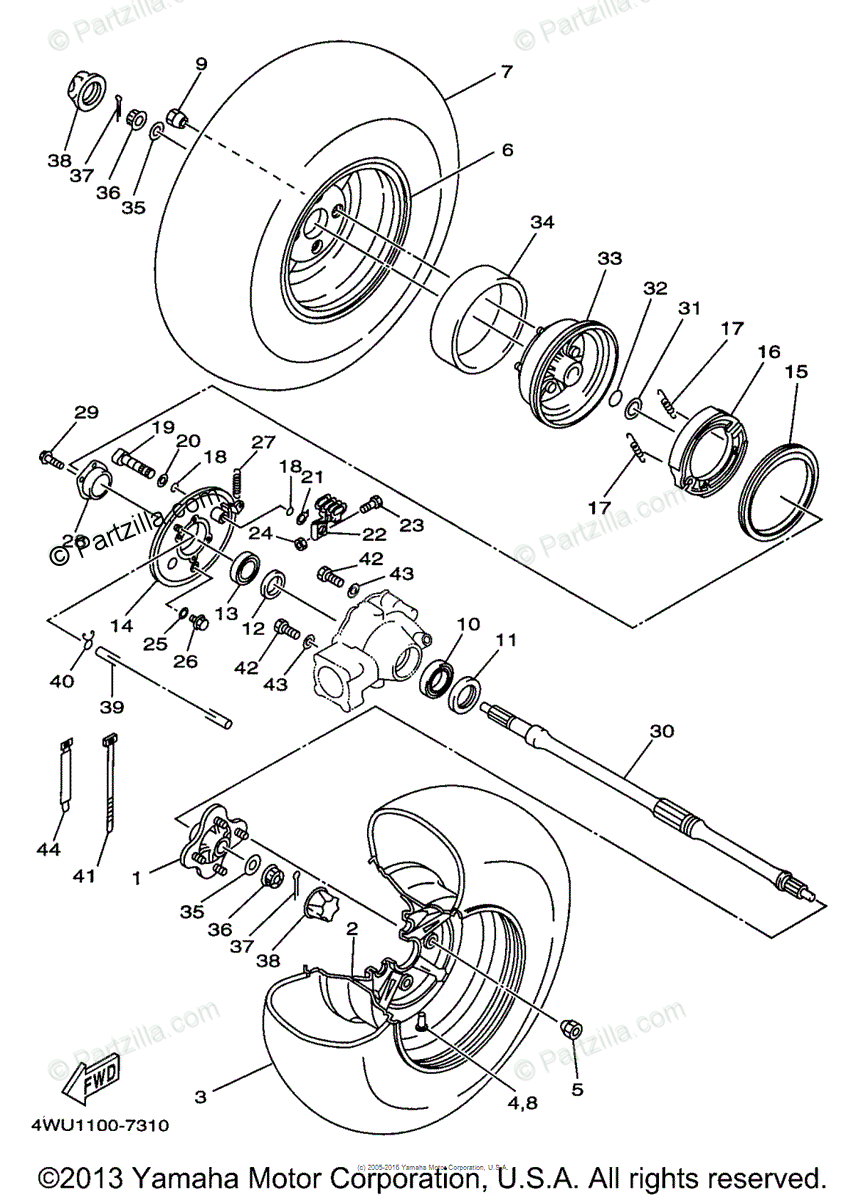 Yamaha ATV 1997 OEM Parts Diagram for Rear Wheel