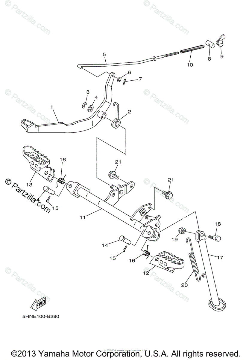Yamaha Motorcycle 2004 OEM Parts Diagram for Stand