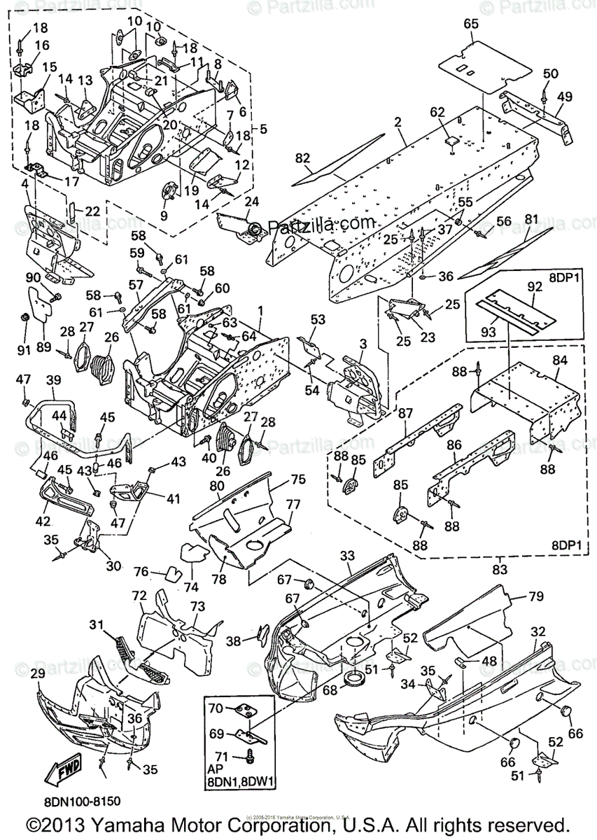 Yamaha Snowmobile 1998 OEM Parts Diagram for Frame