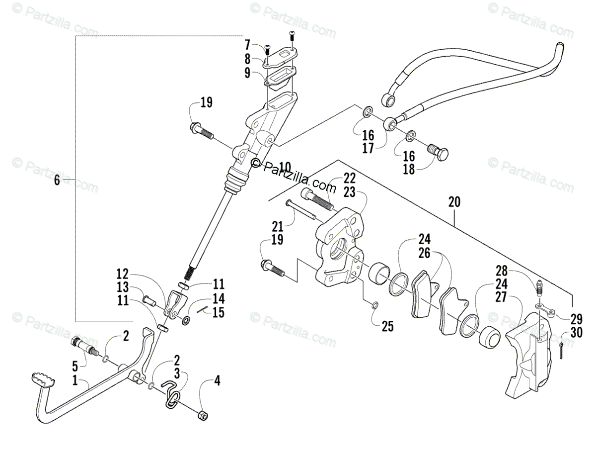Arctic Cat ATV 2004 OEM Parts Diagram for Auxiliary Brake