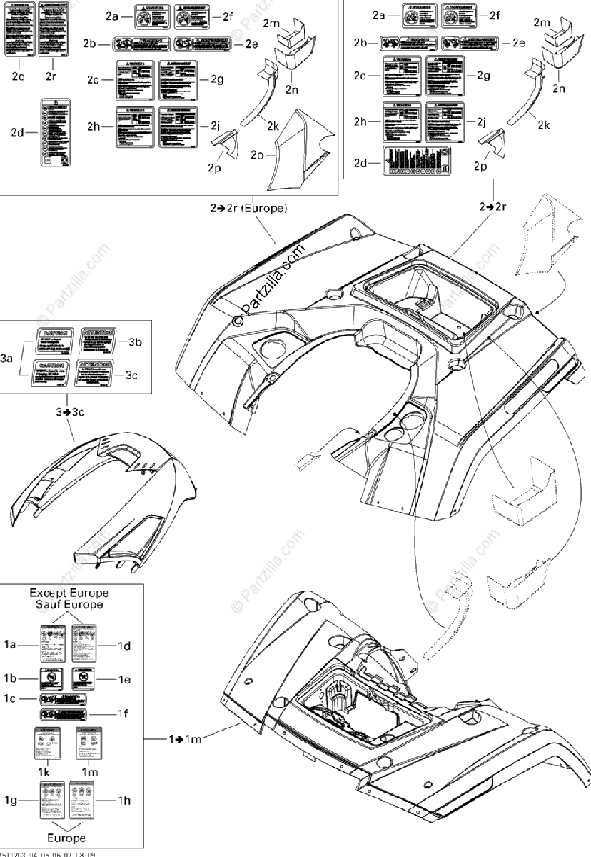 Can-Am ATV 2012 OEM Parts Diagram for Fender And Central