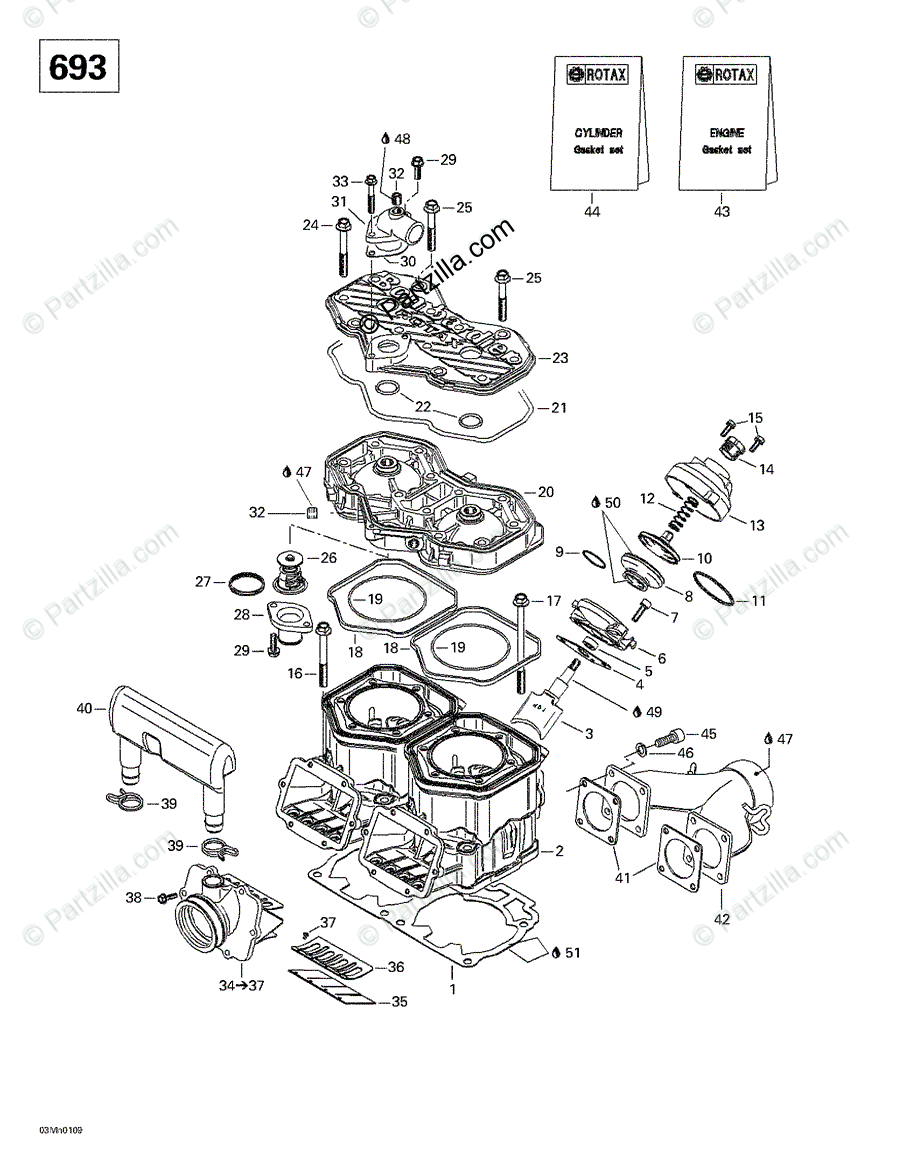 Ski-Doo 2001 FORMULA DELUXE 500/600/700 OEM Parts Diagram