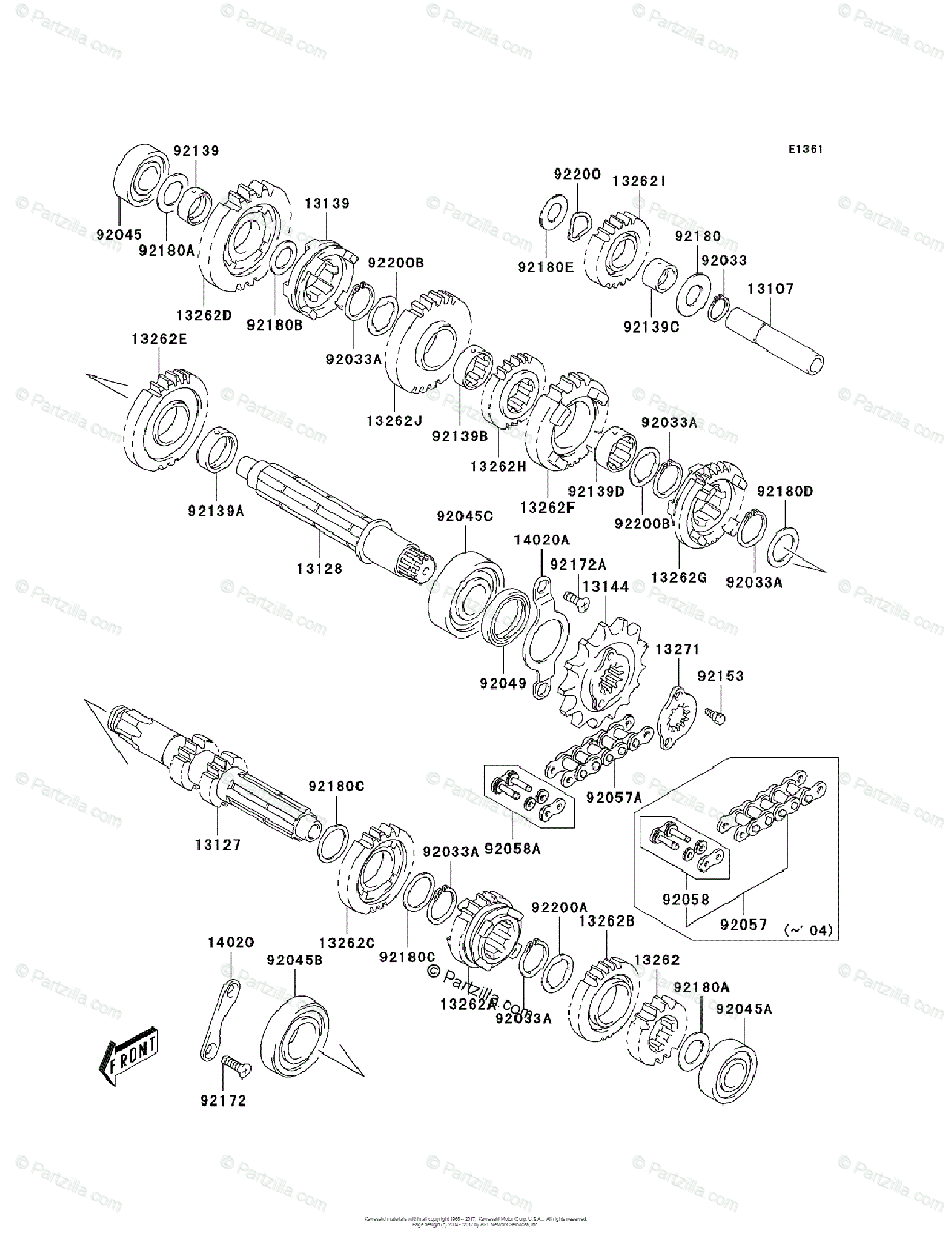 Kawasaki ATV 2005 OEM Parts Diagram for Transmission