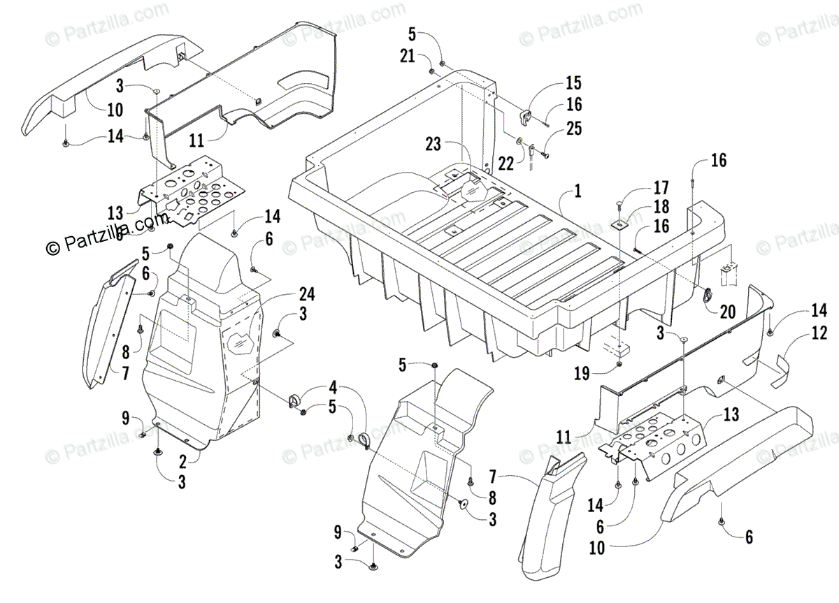 Arctic Cat Side by Side 2007 OEM Parts Diagram for Rear