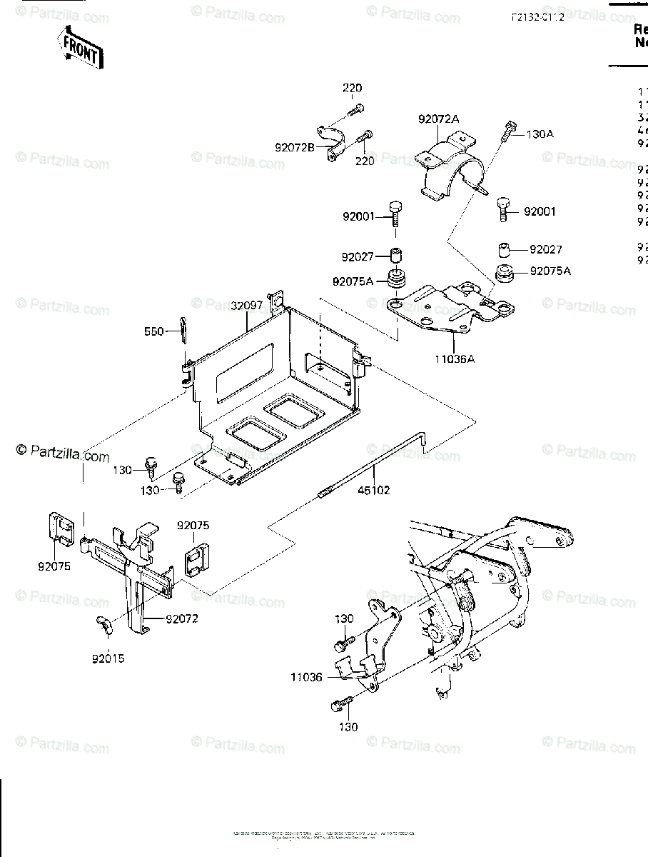 Kawasaki Motorcycle 1984 OEM Parts Diagram for Battery