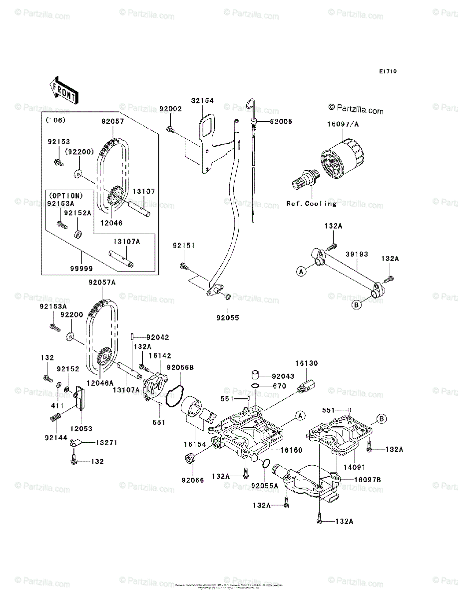 Kawasaki Jet Ski 2006 OEM Parts Diagram for Oil Pump