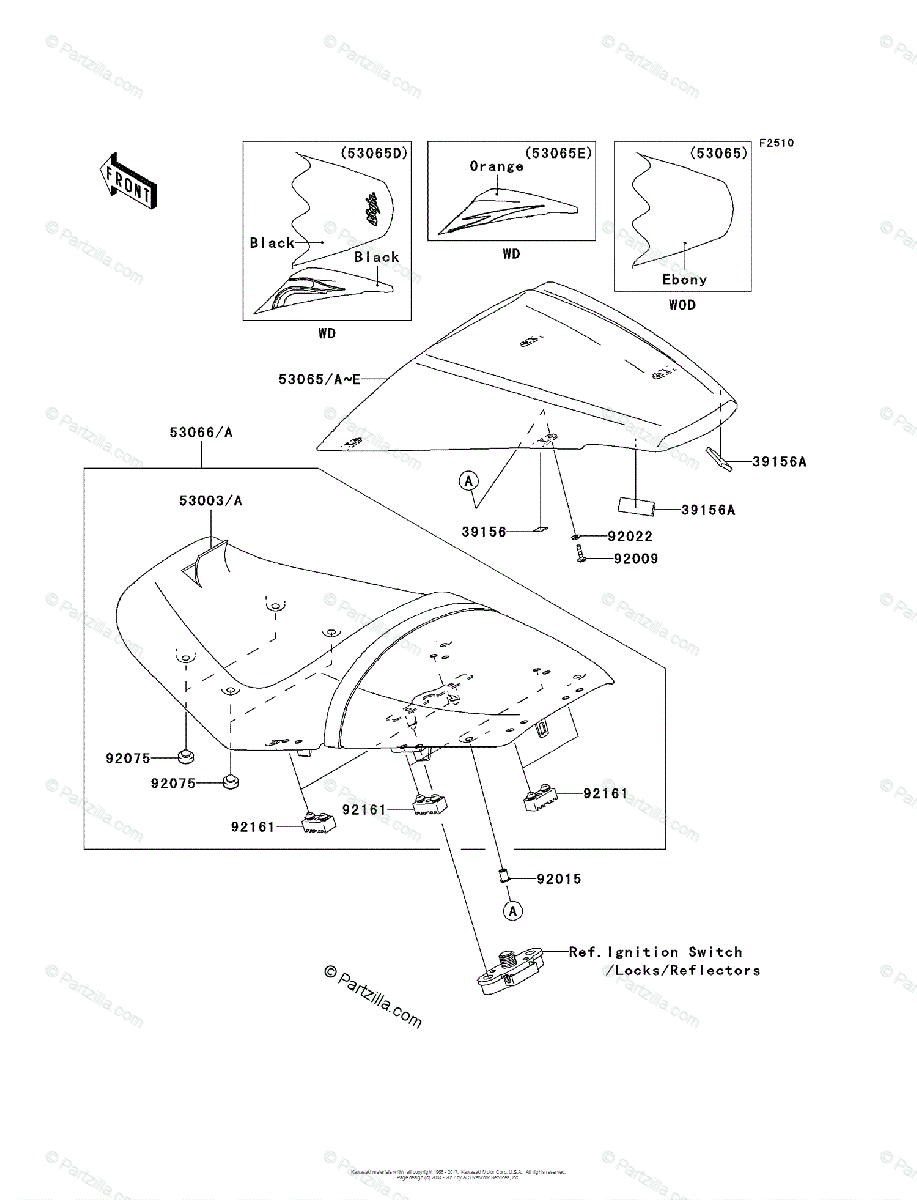 Kawasaki Motorcycle 2008 OEM Parts Diagram for Seat