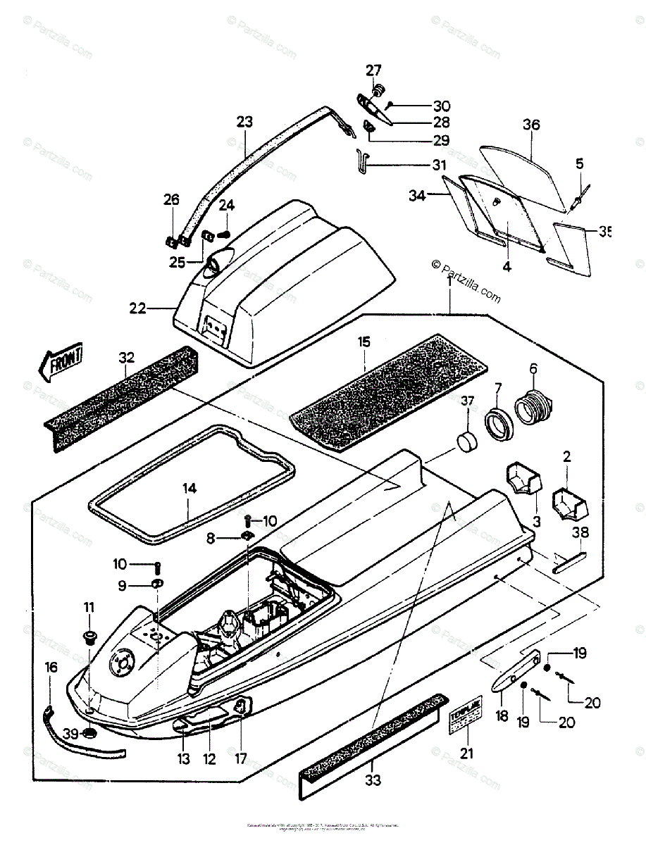Kawasaki Jet Ski 1988 OEM Parts Diagram for HULL/ENGINE