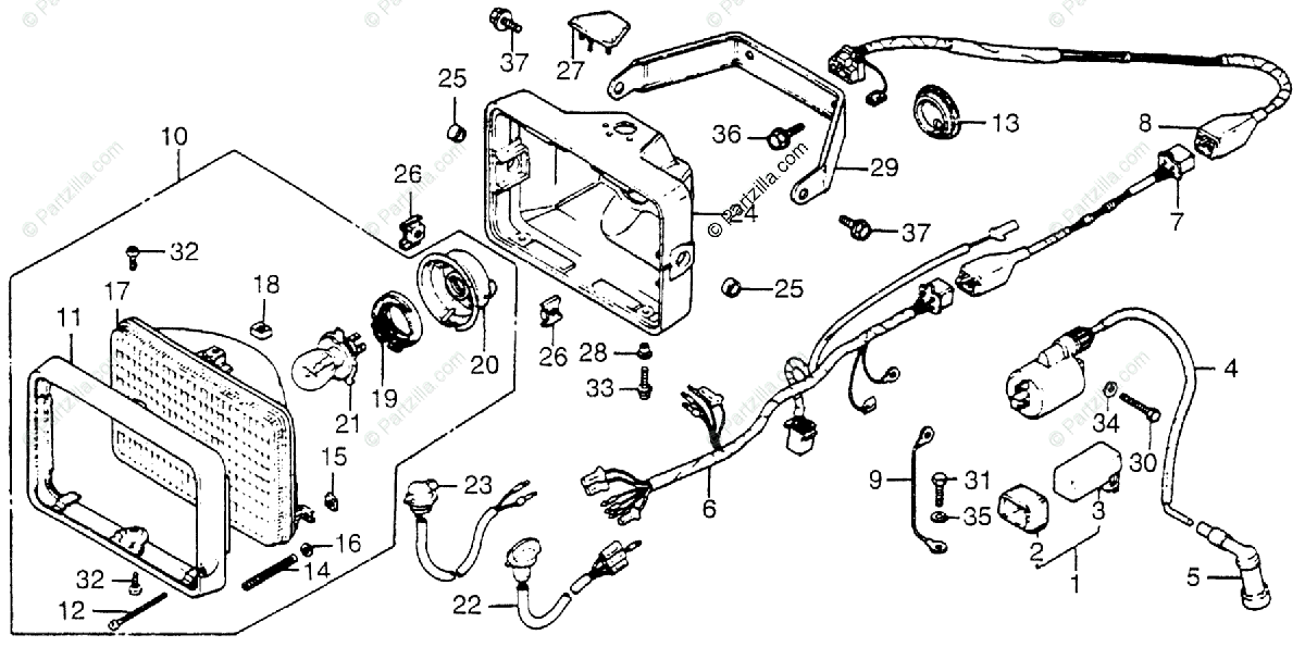 Honda ATV 1983 OEM Parts Diagram for Wire Harness