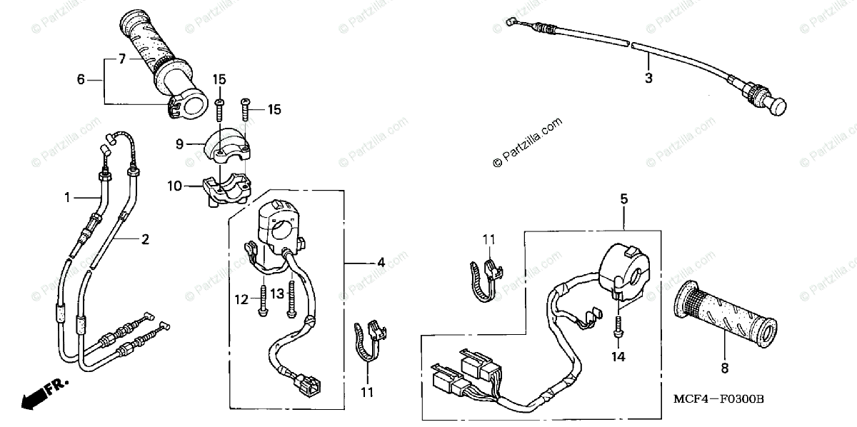 Honda Motorcycle 2000 OEM Parts Diagram for Switch / Cable