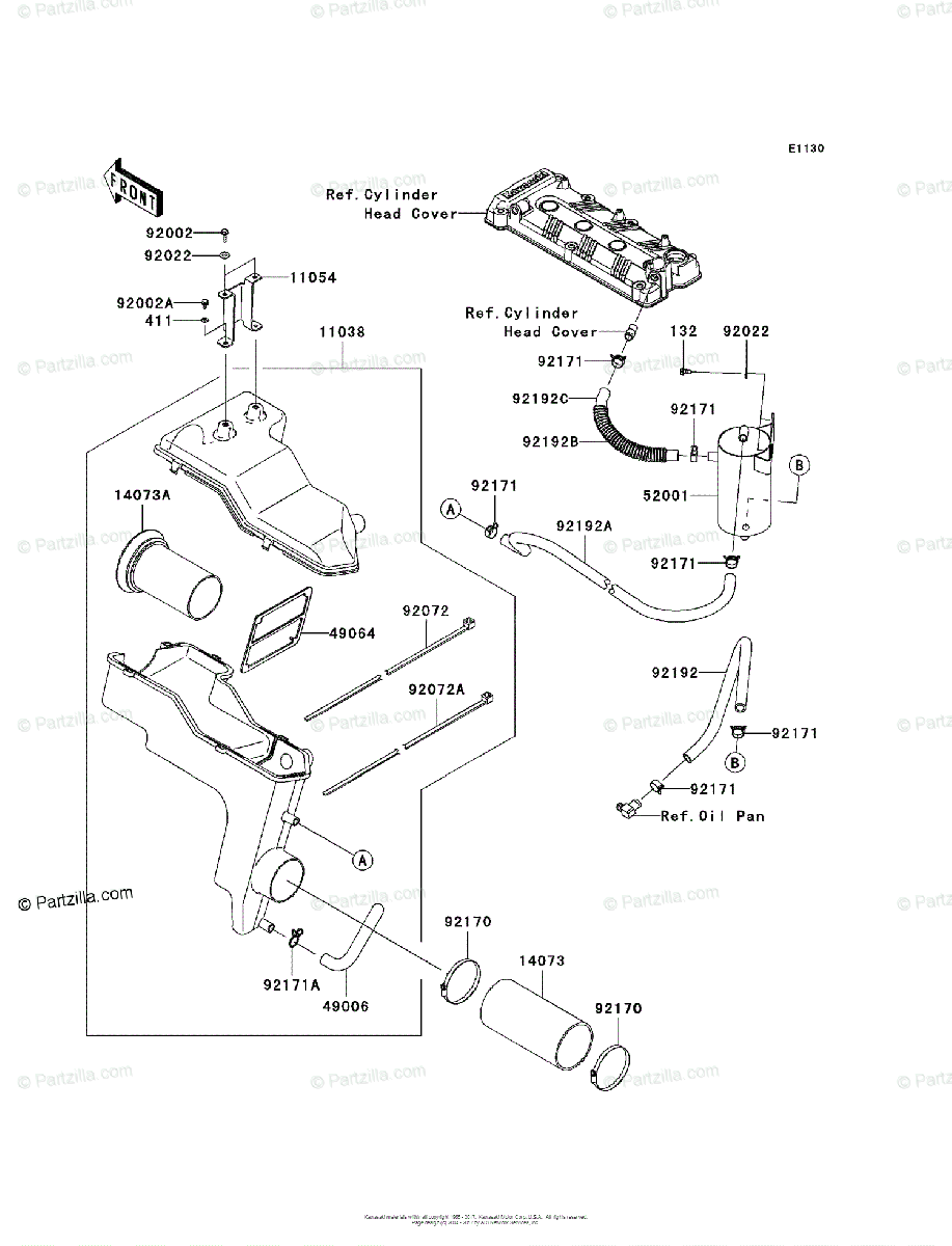 Kawasaki Jet Ski 2011 OEM Parts Diagram for Intake